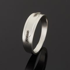 Кольцо бриллиант черный Россия огранка (серебро 925 пр.) размер 19