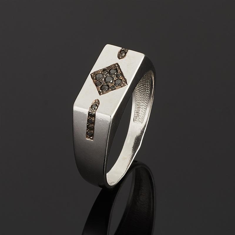 Кольцо бриллиант черный Россия огранка (серебро 925 пр. родир. бел.) размер 19