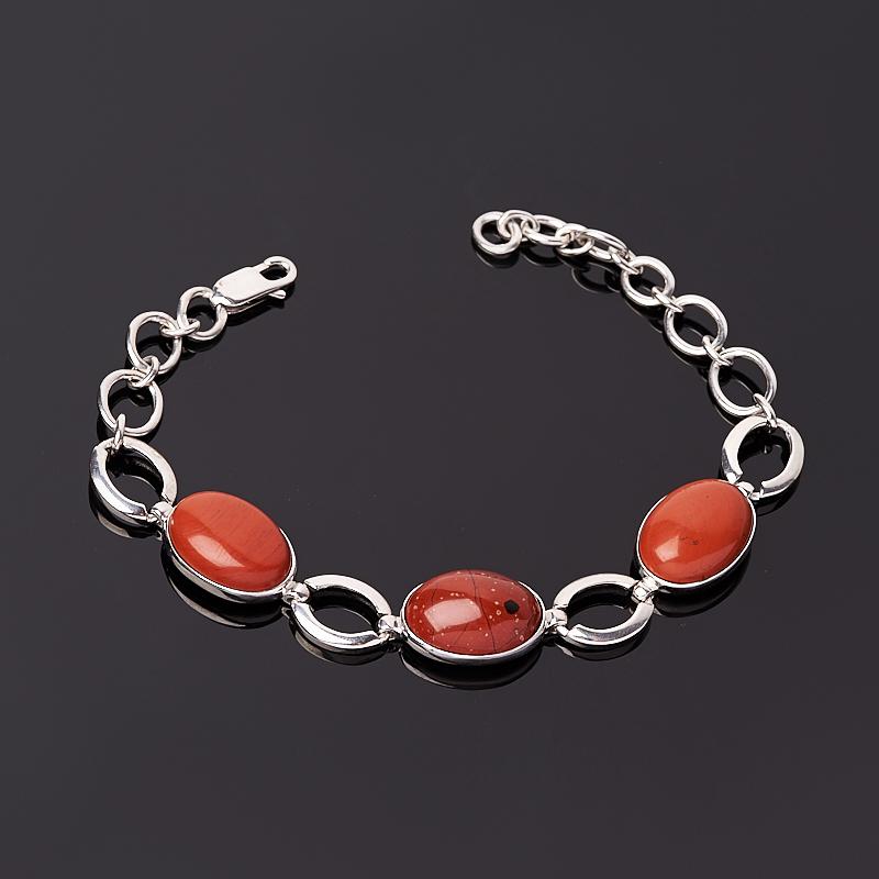 Браслет яшма красная 17 см (+3 см) (серебро 925 пр.)