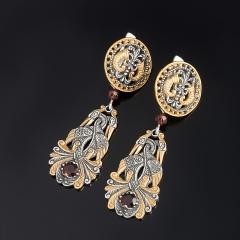 Серьги гранат альмандин Индия огранка (серебро 925 пр., позолота)