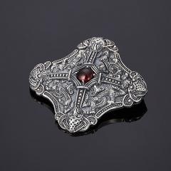 Кулон гранат альмандин Индия (серебро 925 пр. оксидир.)
