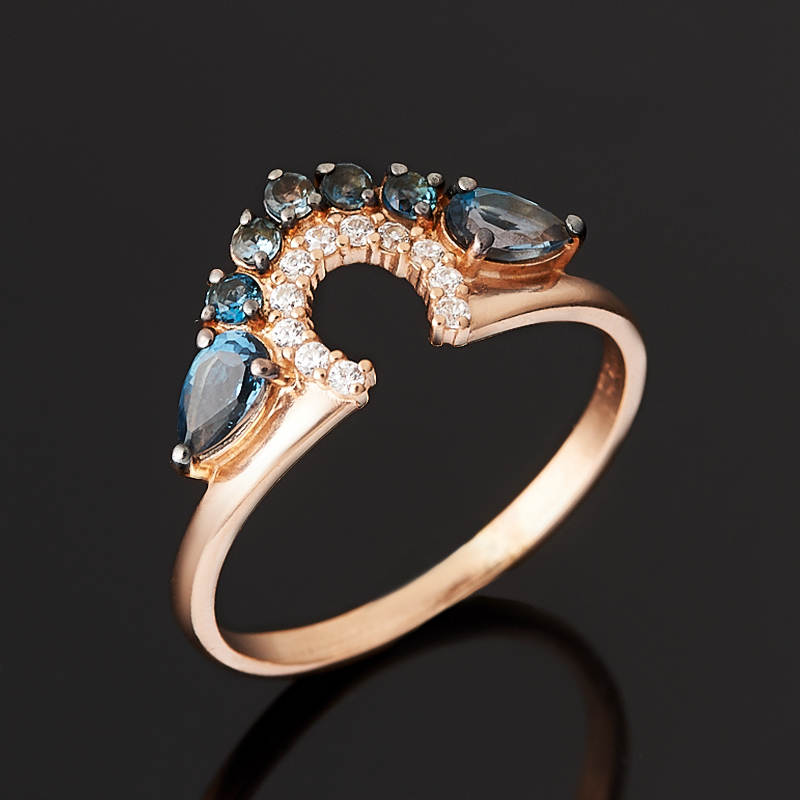 Кольцо топаз огранка (серебро 925 пр., позолота) размер 17,5 коюз топаз кольцо т301017568