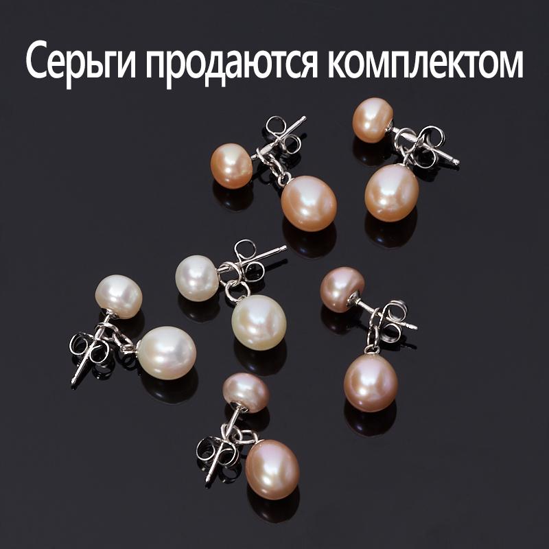 купить Серьги жемчуг белый, лавандовый, персиковый пуссеты (серебро 925 пр.) (3 пары) по цене 4590 рублей
