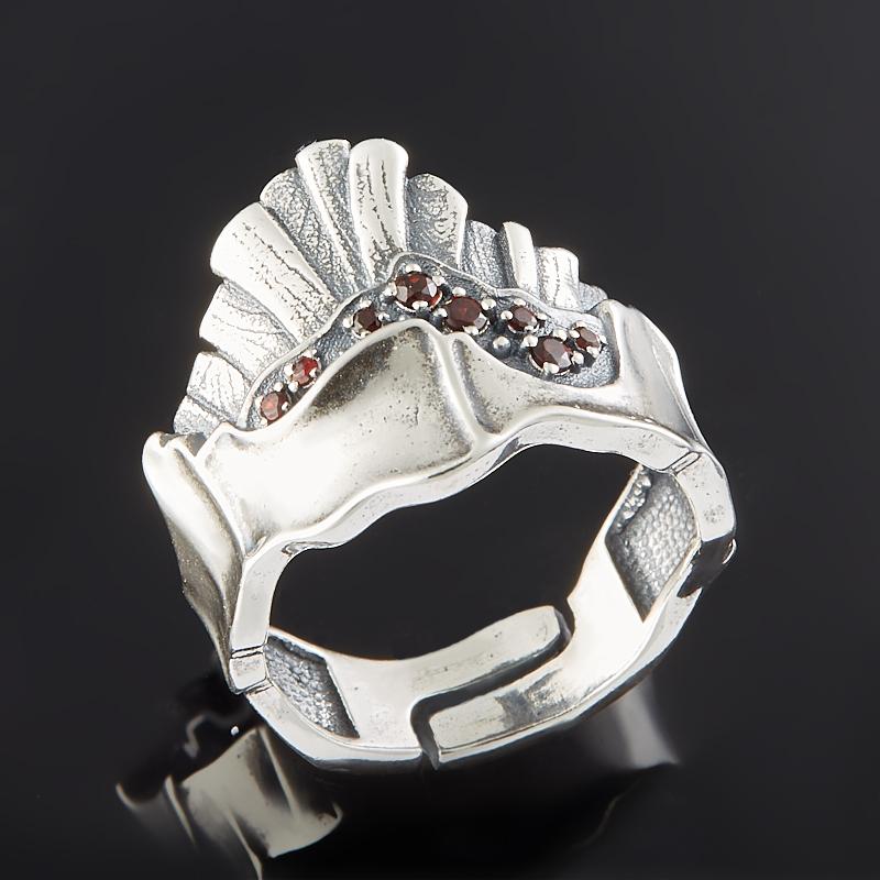 Кольцо гранат альмандин огранка (серебро 925 пр.) размер регулируемый