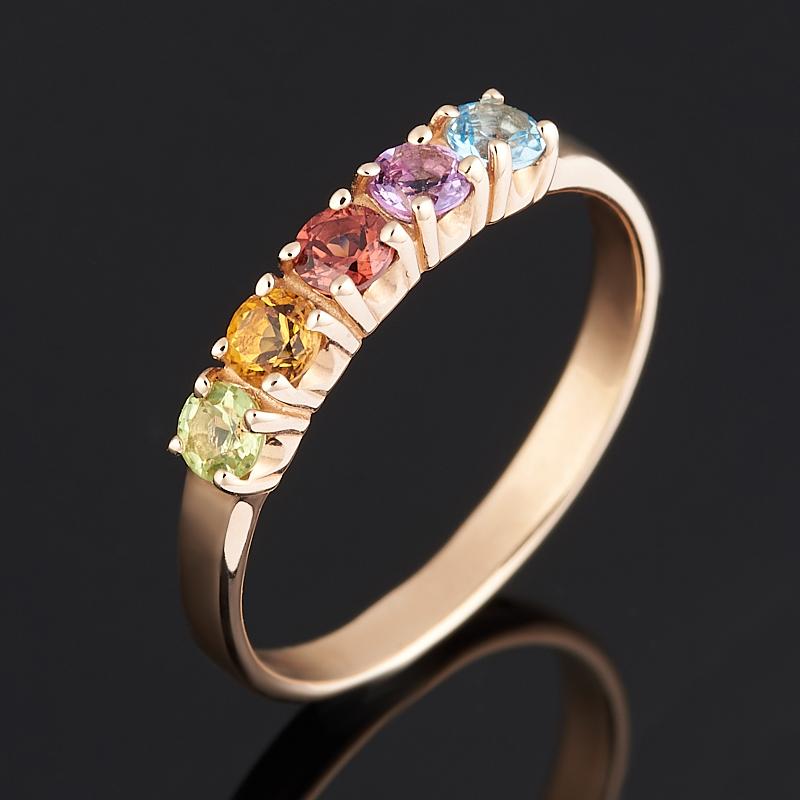 Кольцо микс аметист гранат альмандин топаз огранка (золото 585 пр.) размер 16,5
