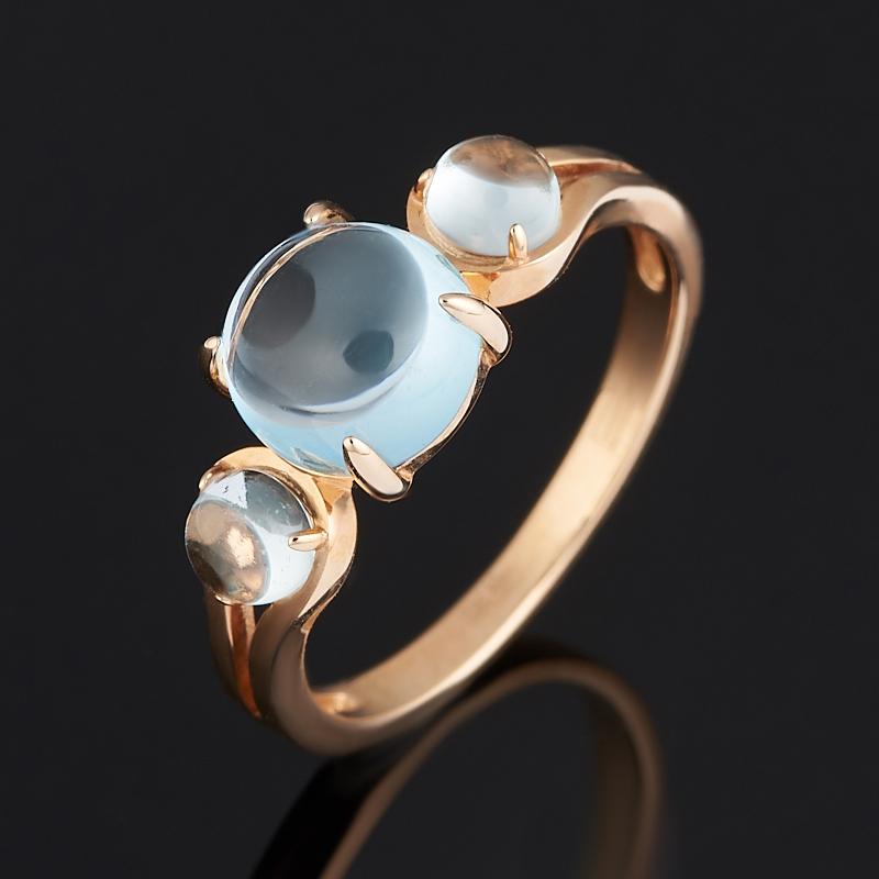 Кольцо топаз голубой (золото 585 пр.) размер 17