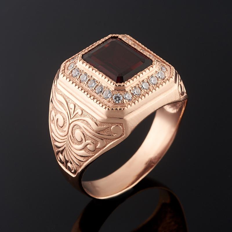 Кольцо гранат альмандин огранка (серебро 925 пр., позолота) размер 21