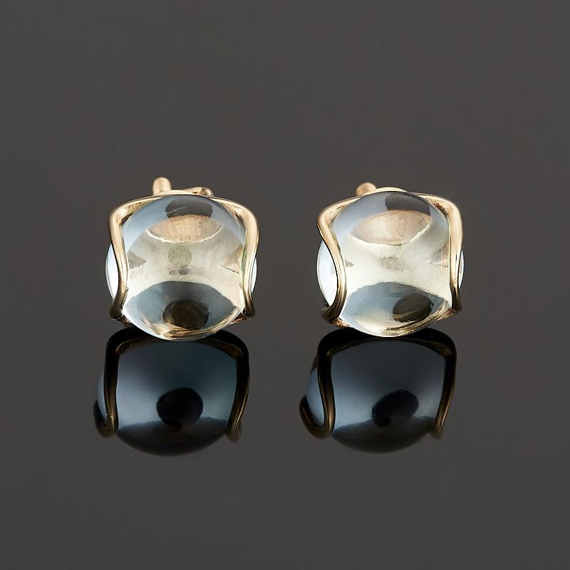 Серьги топаз голубой пуссеты (золото 585 пр.) цена