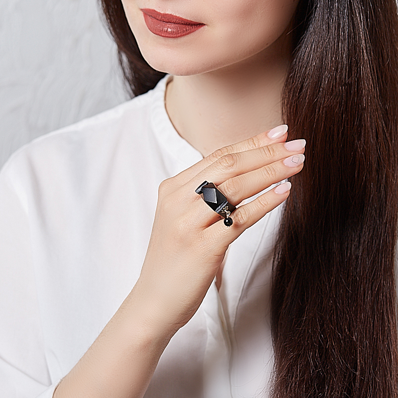 Кольцо гагат Грузия (каучук) размер 17,5