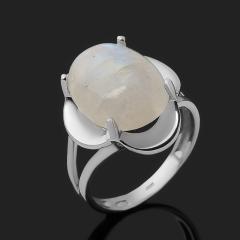 Кольцо лунный камень (адуляр) Индия (серебро 925 пр. родир. бел.) размер 18