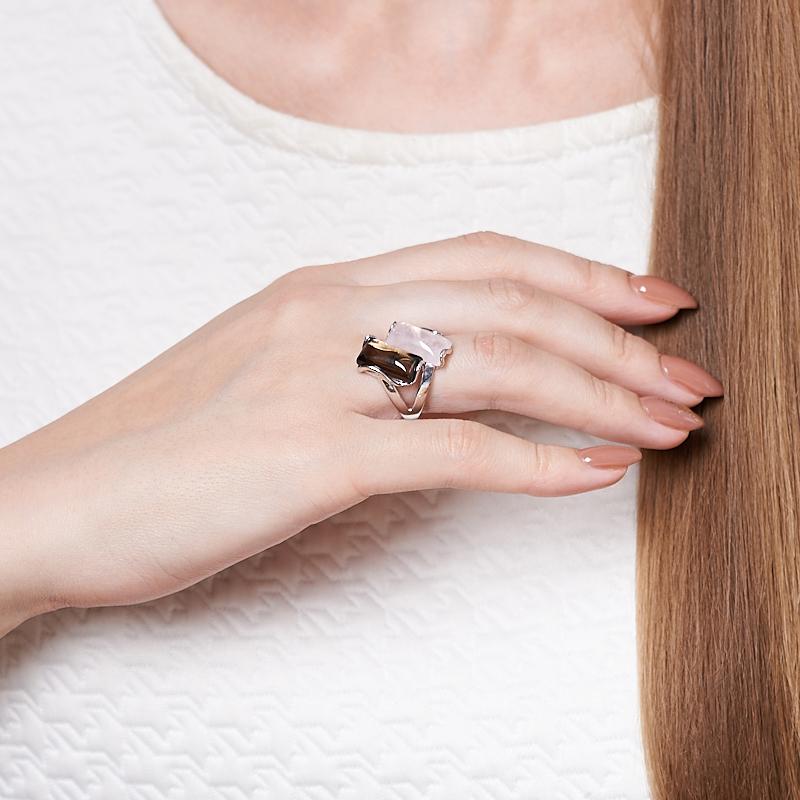Кольцо микс раухтопаз, розовый кварц (серебро 925 пр. родир. бел.) размер 15