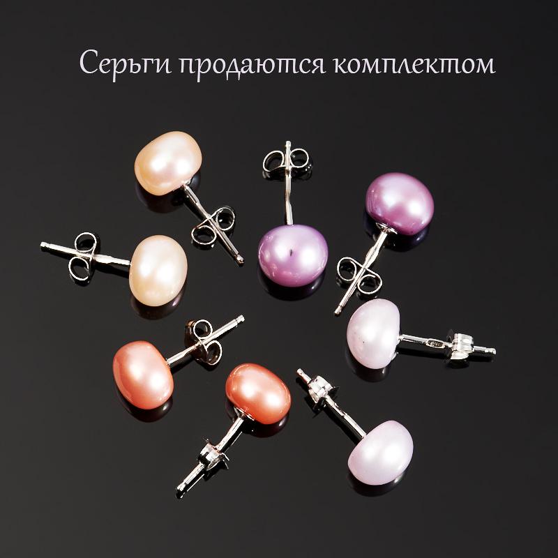 Серьги жемчуг пуссеты (серебро 925 пр.) (4 пары)