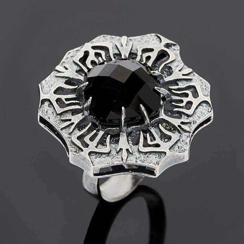 Кольцо агат черный огранка (серебро 925 пр.) размер 17,5
