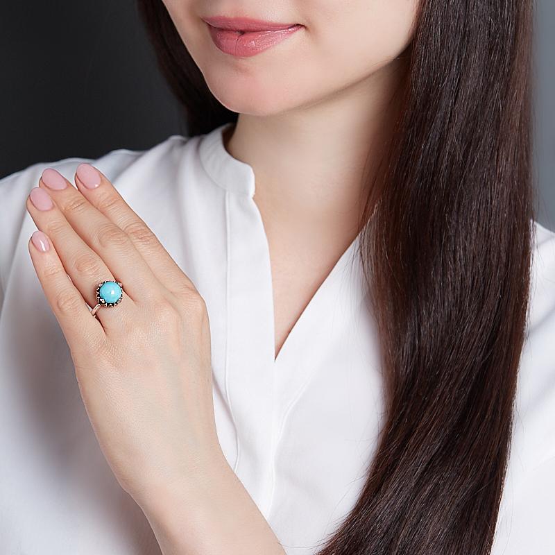 Кольцо бирюза Тибет (серебро 925 пр.) размер 17