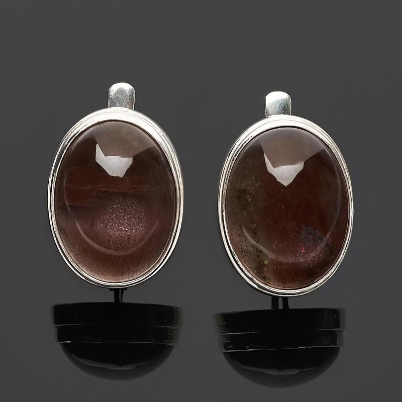 Серьги кошачий глаз (кварцевый) (серебро 925 пр.) бусины monisto стекло кошачий глаз круглые 4мм оранжевый около 66шт нить 14z7738