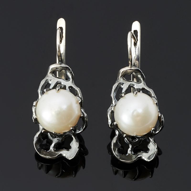 Серьги жемчуг белый (серебро 925 пр. оксидир.)