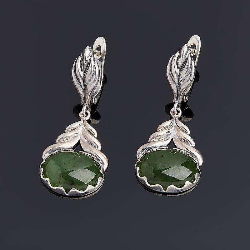 Серьги нефрит зеленый (серебро 925 пр.) браслет классика 8 нефрит револю