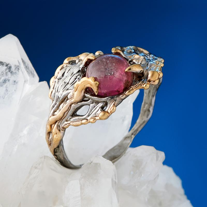 Кольцо турмалин розовый (рубеллит) (серебро 925 пр., позолота) размер 18,5