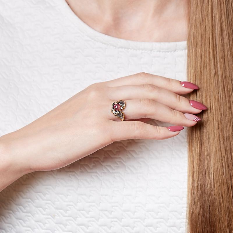 Кольцо турмалин розовый (рубеллит) Бразилия (серебро 925 пр., позолота) размер 18,5