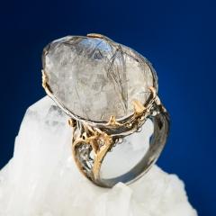 Кольцо рутиловый кварц Бразилия огранка (серебро 925 пр., позолота) размер 17,5