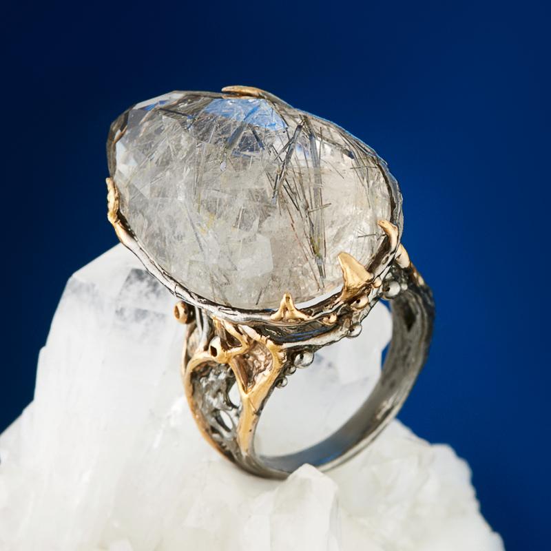 Кольцо рутиловый кварц огранка (серебро 925 пр., позолота) размер 17,5 стоимость