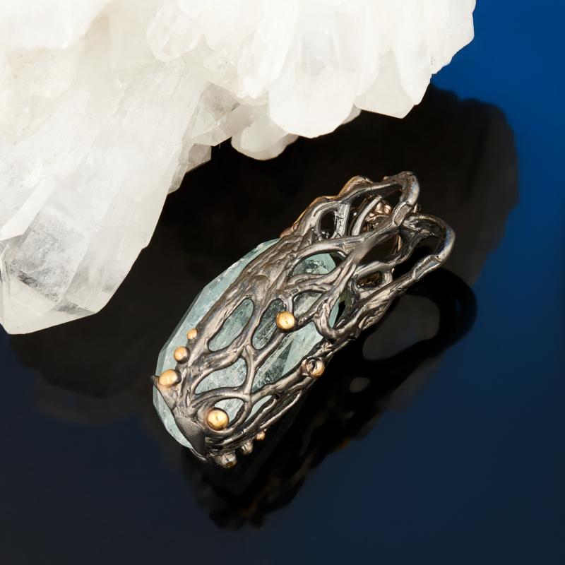 Кулон аквамарин Россия огранка (серебро 925 пр., позолота)