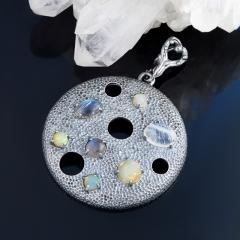 Кулон микс лабрадор, лунный камень, опал круг (серебро 925 пр. родир. черн.)