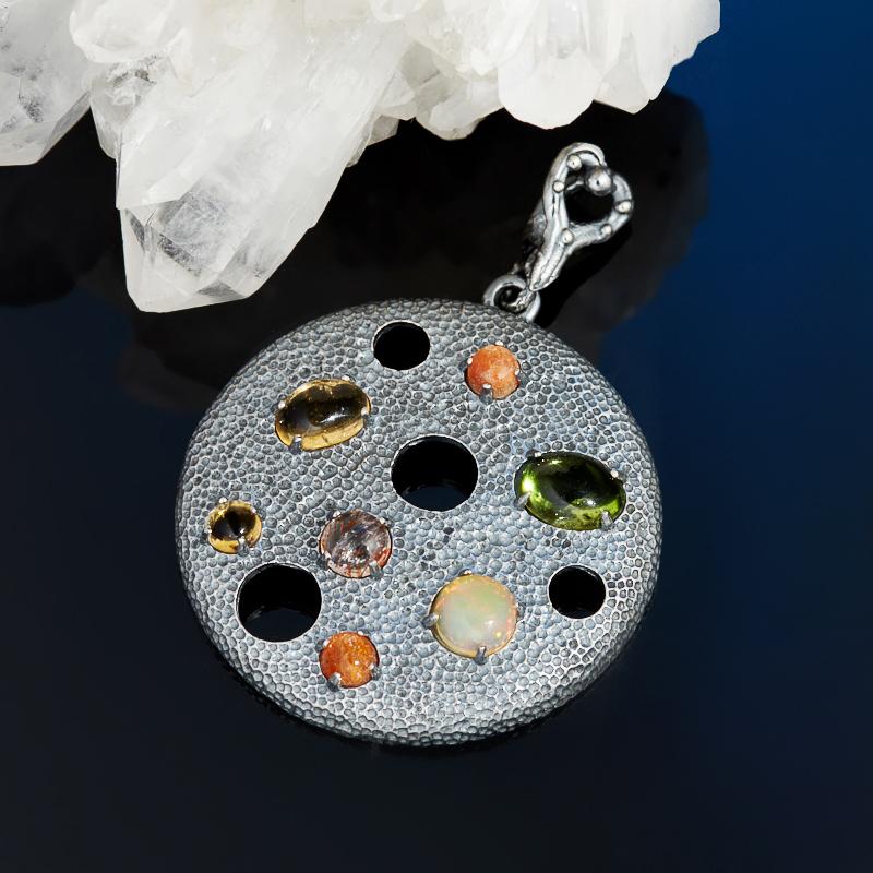 Кулон микс опал солнечный камень хризолит круг (серебро 925 пр.) кулон серебристого цвета сердечки микс цветов qa 535 1 5см