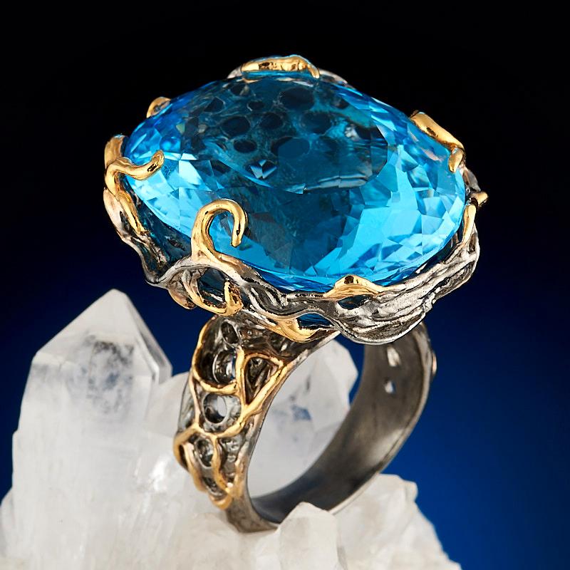 Кольцо топаз голубой огранка (серебро 925 пр., позолота) размер 18 цена и фото
