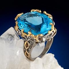 Кольцо топаз голубой Бразилия огранка (серебро 925 пр., позолота) размер 18