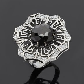 Кольцо шпинель черная Шри Ланка огранка (серебро 925 пр.) размер 17,5