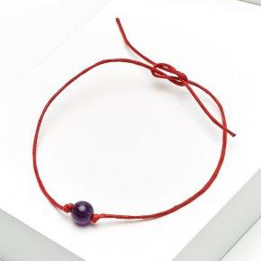 Браслет аметист Бразилия красная нить На процветание 6 мм регулируемый (текстиль)
