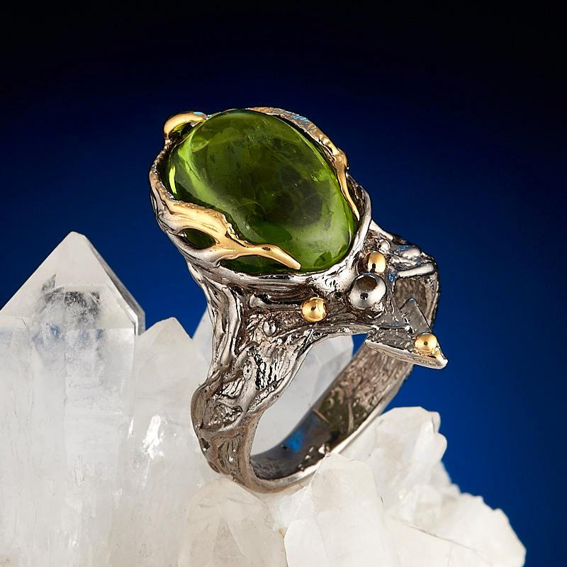 Кольцо хризолит (серебро 925 пр., позолота) размер 16,5
