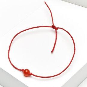Браслет сердолик Ботсвана красная нить Для здоровья 6 мм регулируемый (текстиль)