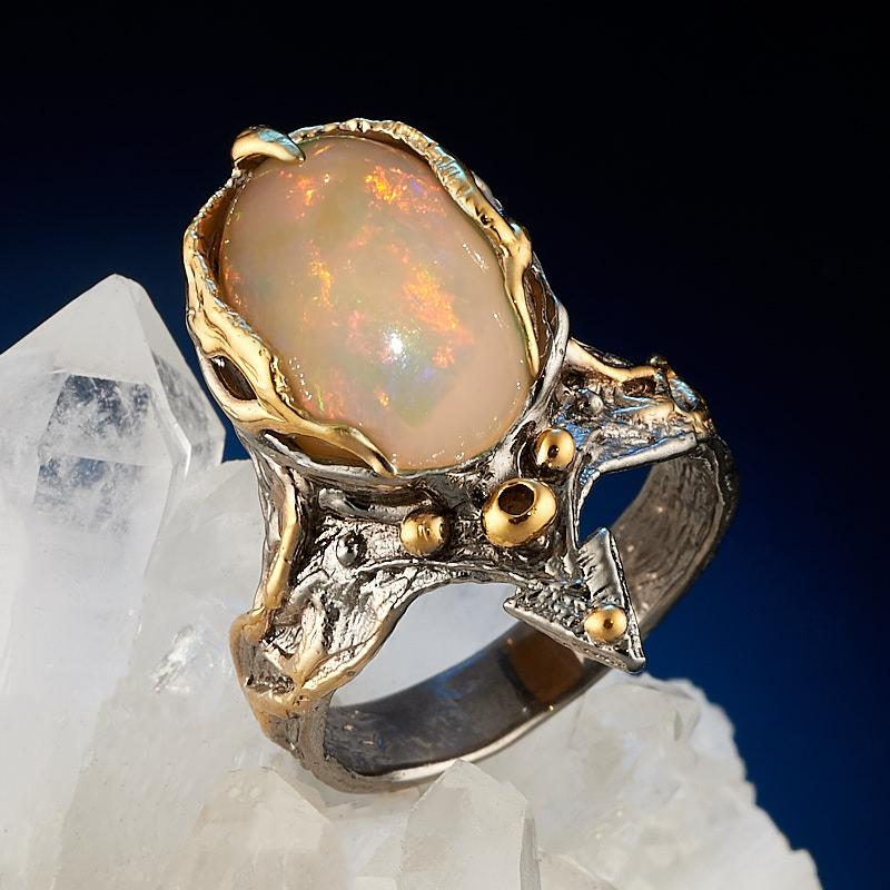 Кольцо опал благородный желтый (серебро 925 пр., позолота) размер 17,5