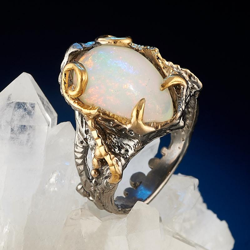 Кольцо опал благородный белый (серебро 925 пр., позолота) размер 17,5
