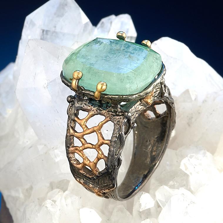 Кольцо берилл Россия огранка (серебро 925 пр., позолота) размер 16,5