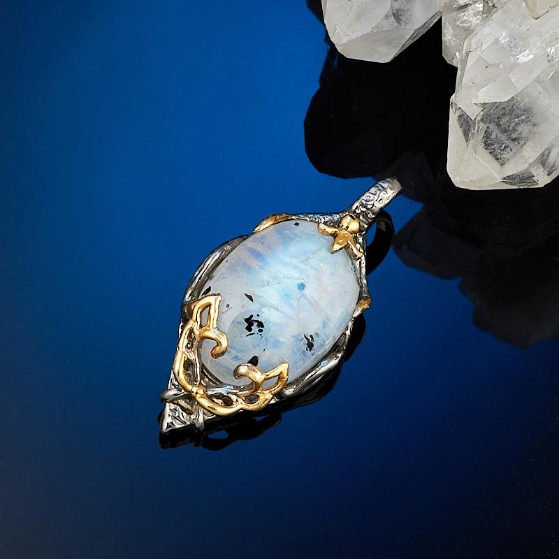 Кулон лунный камень (серебро 925 пр., позолота)