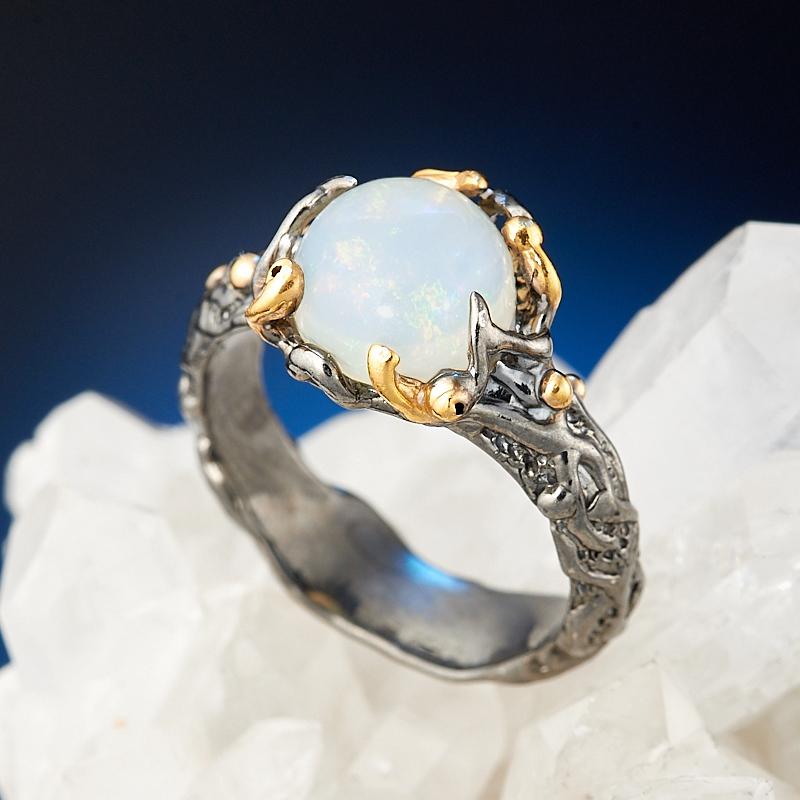 Кольцо опал благородный белый (серебро 925 пр., позолота) размер 18