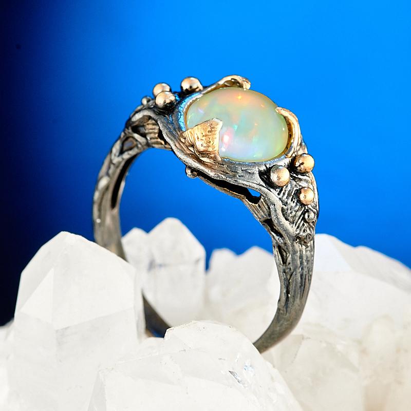 Кольцо опал благородный желтый (серебро 925 пр., позолота) размер 18