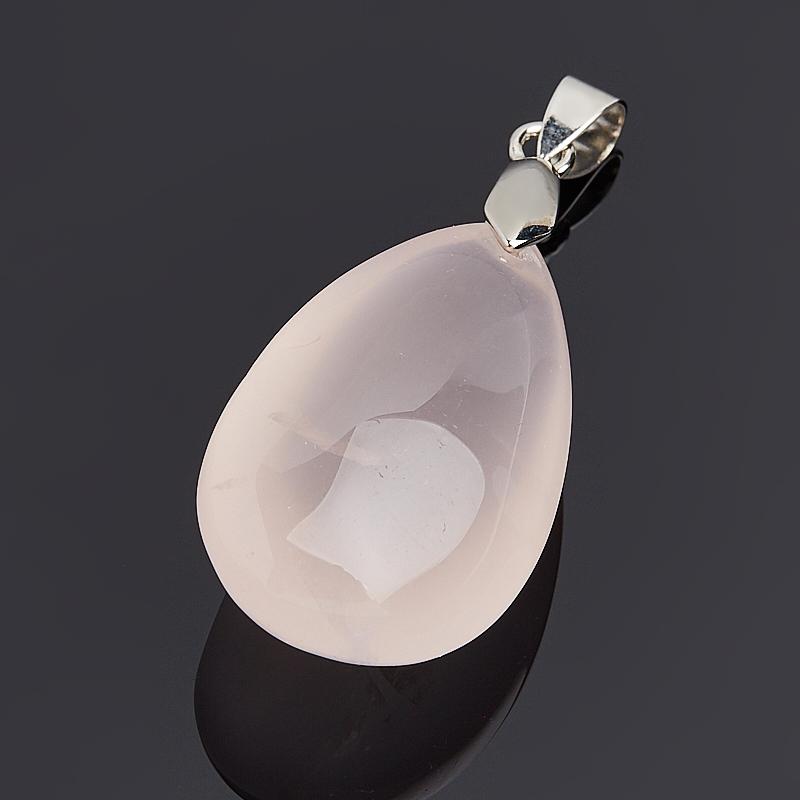 Кулон розовый кварц Бразилия капля (биж. сплав) 4-5 см