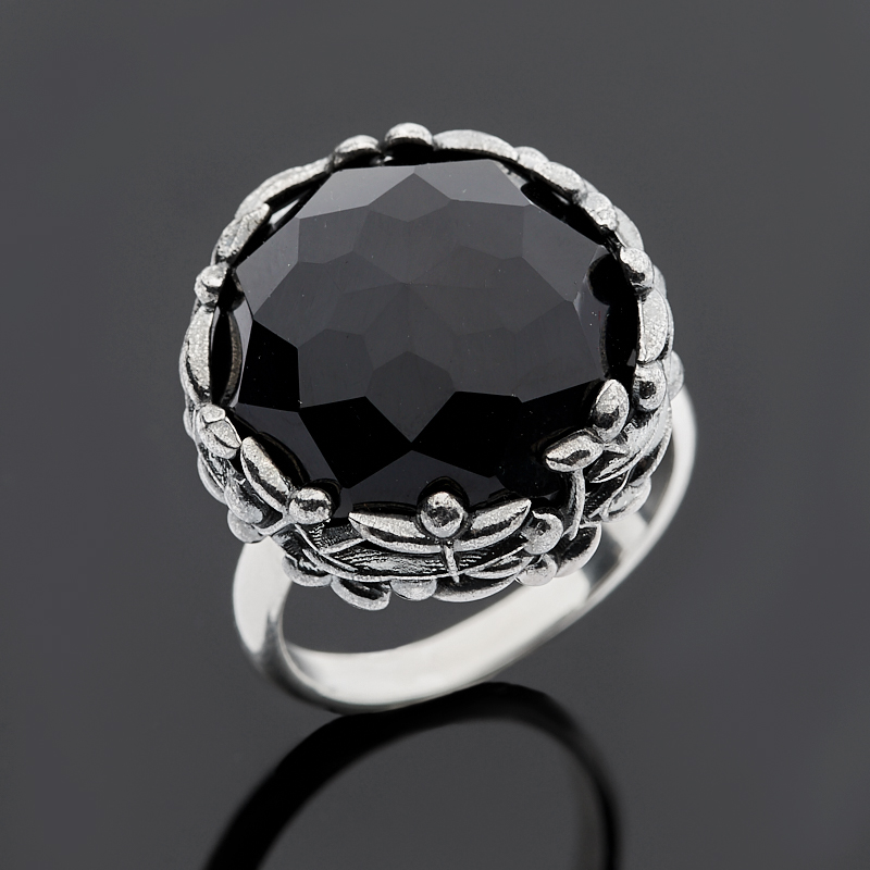 Кольцо агат черный огранка (серебро 925 пр.) размер 18,5 кольца колечки кольцо лерос агат