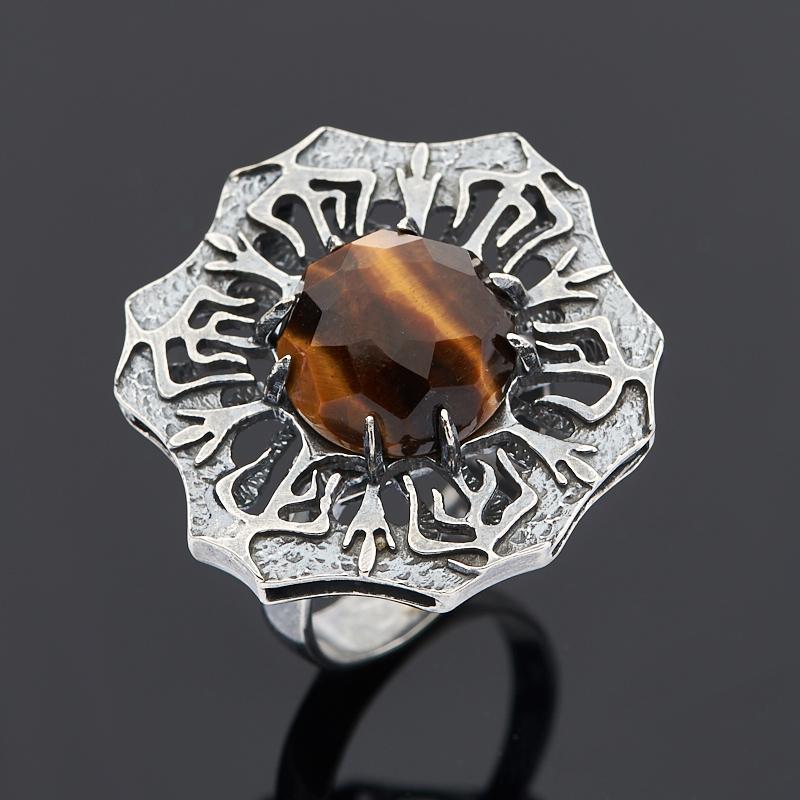 Кольцо тигровый глаз огранка (серебро 925 пр.) размер 18,5