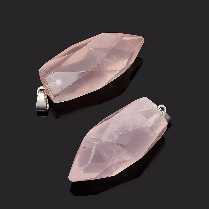 Кулон розовый кварц Бразилия кристалл огранка (биж. сплав) 4-5 см