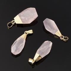 Кулон розовый кварц Бразилия кристалл огранка (биж. сплав) 4-4,5 см