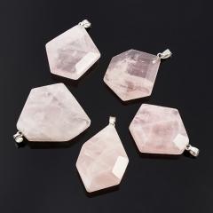 Кулон розовый кварц Бразилия огранка (биж. сплав) 4,5-5 см