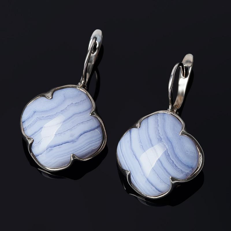 Серьги агат голубой (серебро 925 пр.)