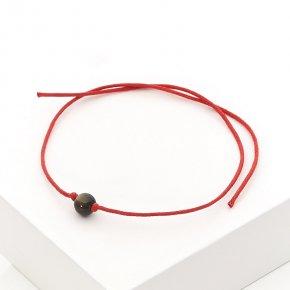 Браслет обсидиан золотистый Мексика красная нить Для раскрытия экстрасенсорных способностей 6 мм регулируемый (текстиль)