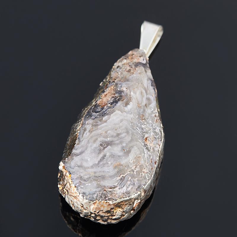 Кулон агат серый жеода с кристаллом цитрина Бразилия (биж. сплав) 3,5-4,5 см