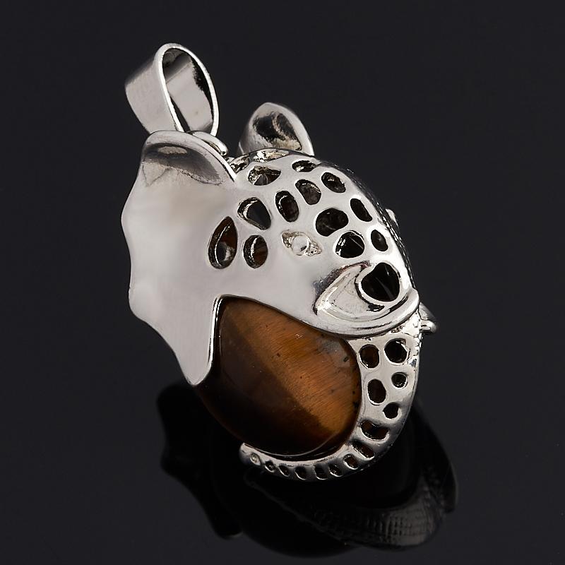 Кулон тигровый глаз слоник (биж. сплав) 3,5 см